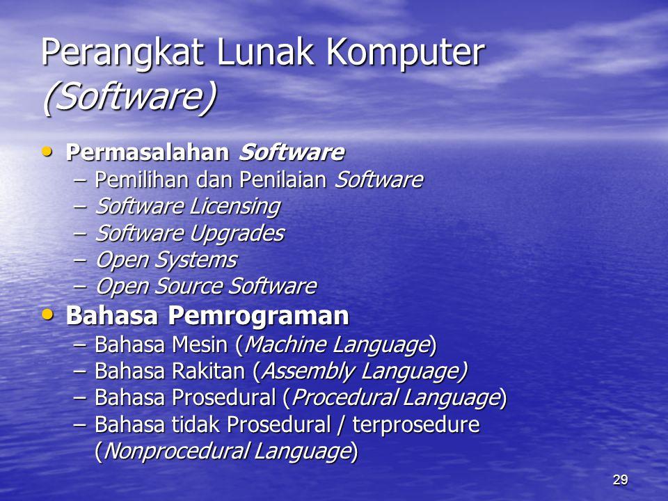 29 Perangkat Lunak Komputer (Software) Permasalahan Software Permasalahan Software –Pemilihan dan Penilaian Software –Software Licensing –Software Upg