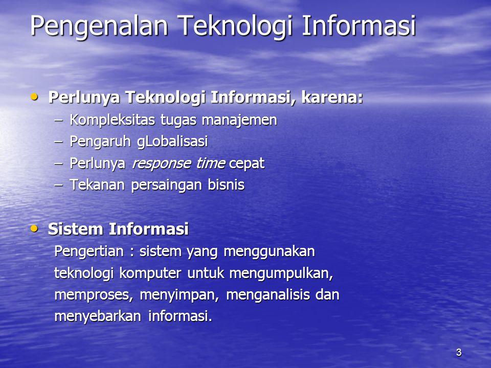 3 Pengenalan Teknologi Informasi Perlunya Teknologi Informasi, karena: Perlunya Teknologi Informasi, karena: –Kompleksitas tugas manajemen –Pengaruh g