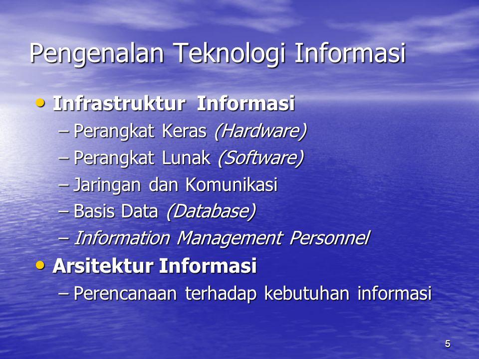 5 Pengenalan Teknologi Informasi Infrastruktur Informasi Infrastruktur Informasi –Perangkat Keras (Hardware) –Perangkat Lunak (Software) –Jaringan dan