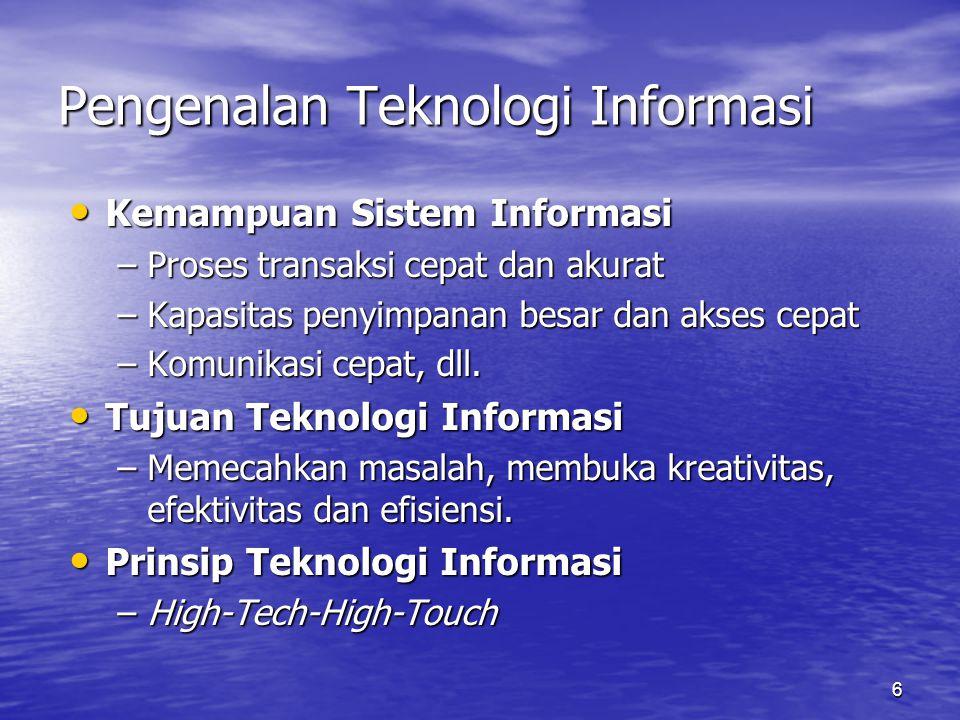 6 Pengenalan Teknologi Informasi Kemampuan Sistem Informasi Kemampuan Sistem Informasi –Proses transaksi cepat dan akurat –Kapasitas penyimpanan besar