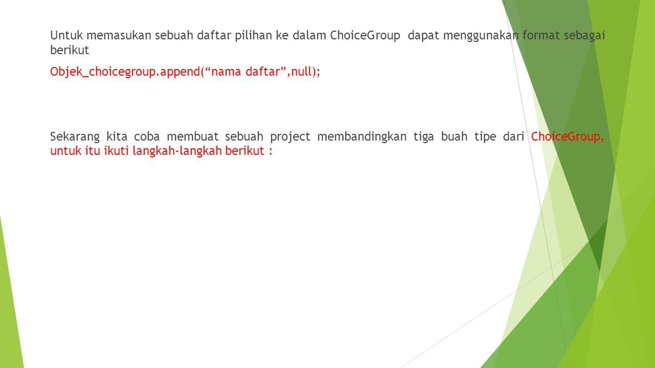 1.Buat Project baru dan beri nama latihan3 2.