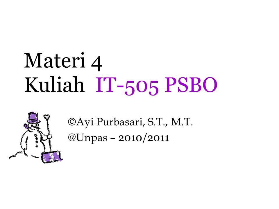 Materi 4 Kuliah IT-505 PSBO ©Ayi Purbasari, S.T., M.T. @Unpas – 2010/2011