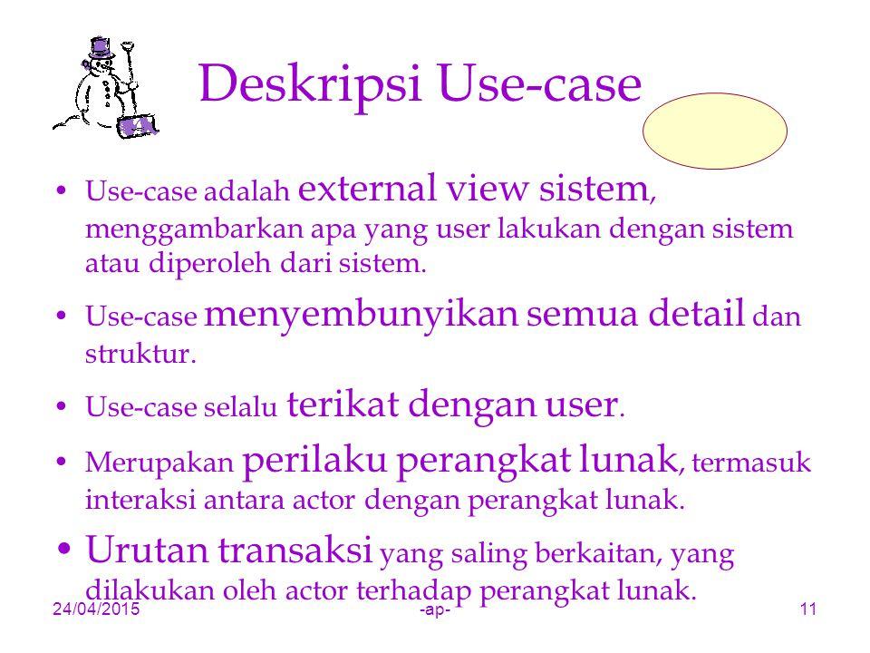 24/04/2015-ap-11 Deskripsi Use-case Use-case adalah external view sistem, menggambarkan apa yang user lakukan dengan sistem atau diperoleh dari sistem.