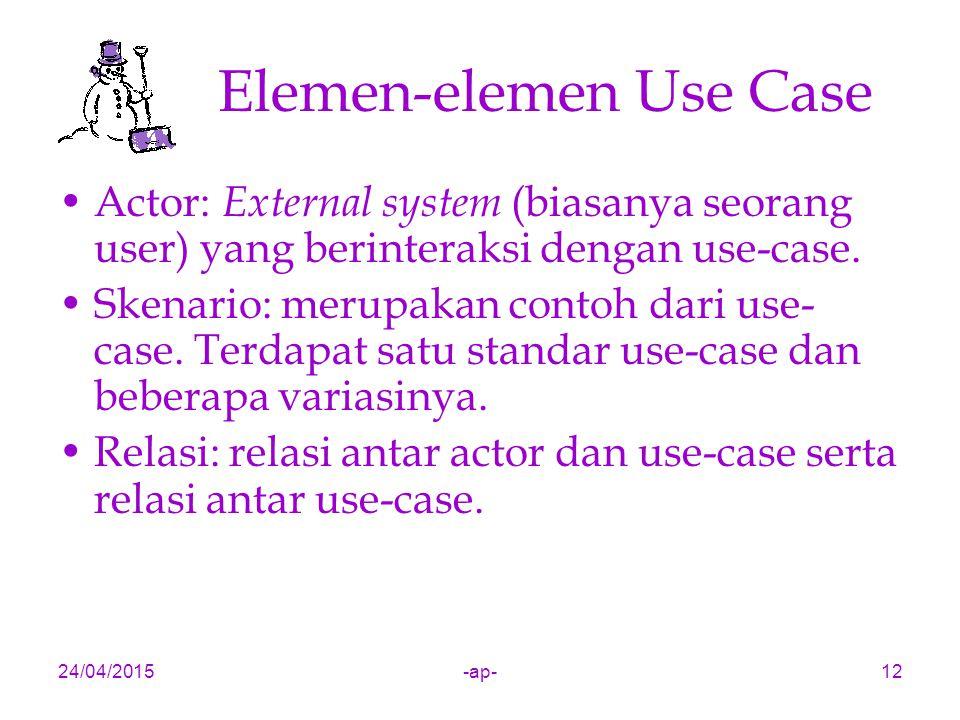 24/04/2015-ap-12 Elemen-elemen Use Case Actor: External system (biasanya seorang user) yang berinteraksi dengan use-case. Skenario: merupakan contoh d