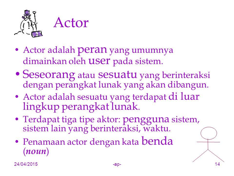 24/04/2015-ap-14 Actor Actor adalah peran yang umumnya dimainkan oleh user pada sistem. Seseorang atau sesuatu yang berinteraksi dengan perangkat luna
