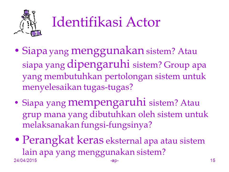 24/04/2015-ap-15 Identifikasi Actor Siapa yang menggunakan sistem? Atau siapa yang dipengaruhi sistem? Group apa yang membutuhkan pertolongan sistem u