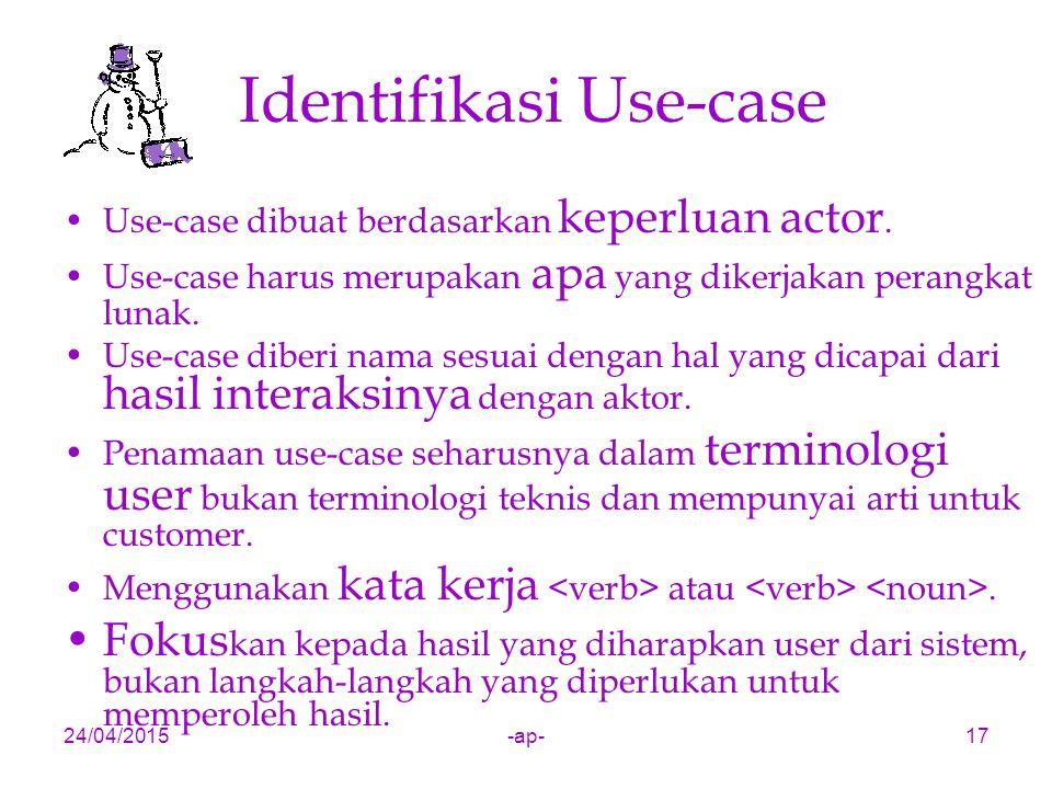 24/04/2015-ap-17 Identifikasi Use-case Use-case dibuat berdasarkan keperluan actor. Use-case harus merupakan apa yang dikerjakan perangkat lunak. Use-