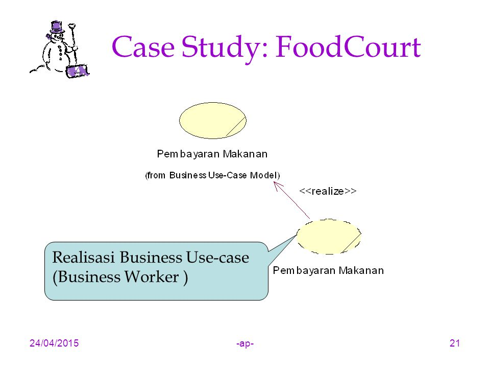 24/04/2015-ap-21 Case Study: FoodCourt Realisasi Business Use-case (Business Worker )