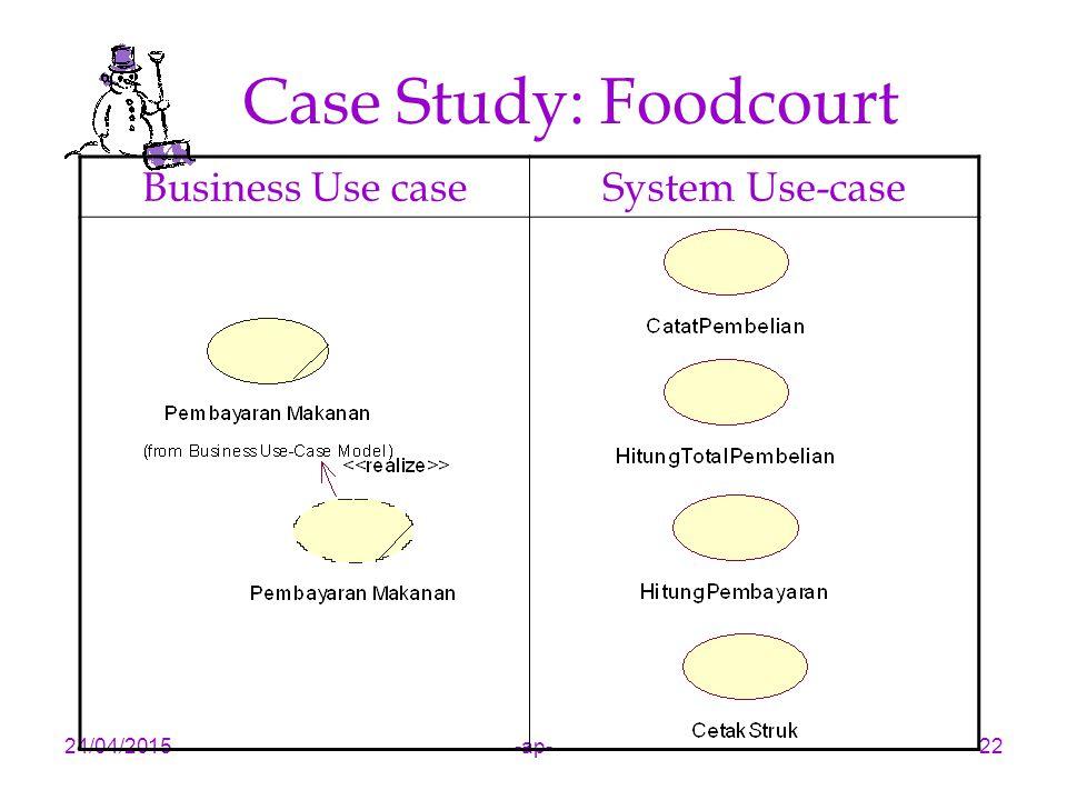 24/04/2015-ap-22 Case Study: Foodcourt Business Use caseSystem Use-case