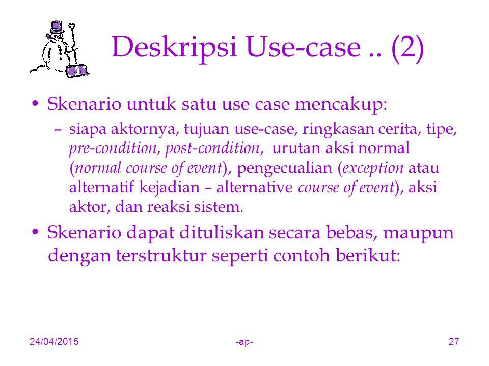 24/04/2015-ap-27 Deskripsi Use-case.. (2) Skenario untuk satu use case mencakup: –siapa aktornya, tujuan use-case, ringkasan cerita, tipe, pre-conditi