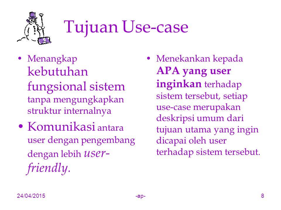 24/04/2015-ap-8 Tujuan Use-case Menangkap kebutuhan fungsional sistem tanpa mengungkapkan struktur internalnya Komunikasi antara user dengan pengembang dengan lebih user- friendly.