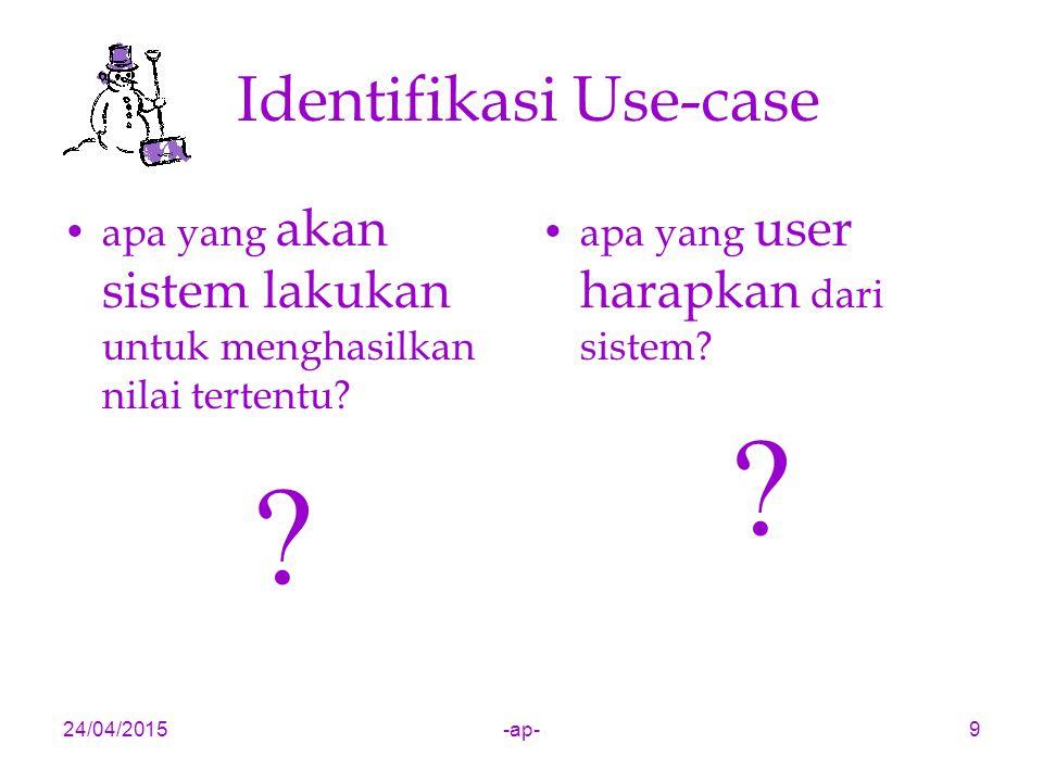 24/04/2015-ap-10 Latar Belakang Use-case Use-case diperkenalkan oleh Ivar Jacobson pada tahun 1992 sebagai reaksi dari pengalamannya, bahwa pada pembangunan oo secara tradisional, orang menggunakan interaksi tertentu untuk membantu memahami kebutuhan pengguna.
