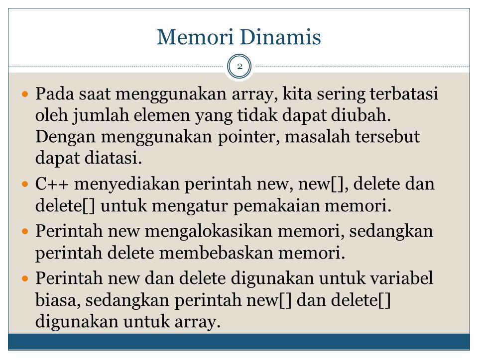 Memori Dinamis 2 Pada saat menggunakan array, kita sering terbatasi oleh jumlah elemen yang tidak dapat diubah.