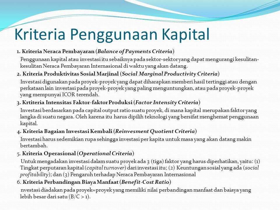 Kriteria Penggunaan Kapital 1.