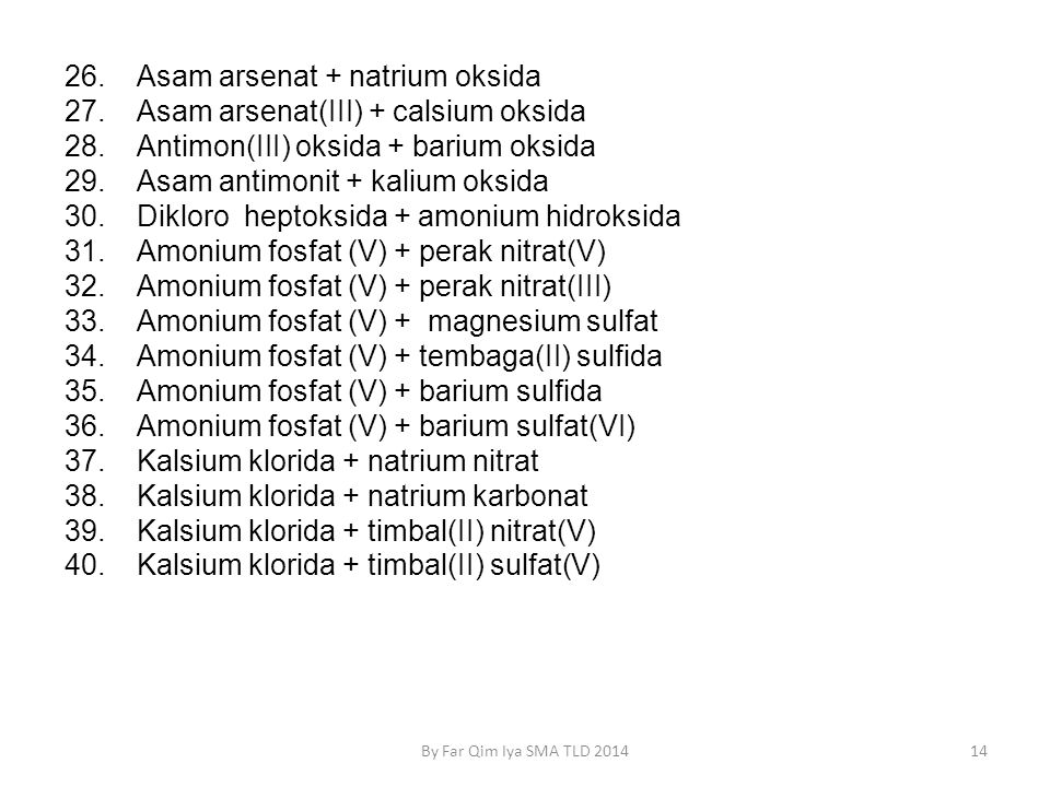 14By Far Qim Iya SMA TLD 2014 26.Asam arsenat + natrium oksida 27.Asam arsenat(III) + calsium oksida 28.Antimon(III) oksida + barium oksida 29.Asam antimonit + kalium oksida 30.Dikloro heptoksida + amonium hidroksida 31.Amonium fosfat (V) + perak nitrat(V) 32.Amonium fosfat (V) + perak nitrat(III) 33.Amonium fosfat (V) + magnesium sulfat 34.Amonium fosfat (V) + tembaga(II) sulfida 35.Amonium fosfat (V) + barium sulfida 36.Amonium fosfat (V) + barium sulfat(VI) 37.Kalsium klorida + natrium nitrat 38.Kalsium klorida + natrium karbonat 39.Kalsium klorida + timbal(II) nitrat(V) 40.Kalsium klorida + timbal(II) sulfat(V)