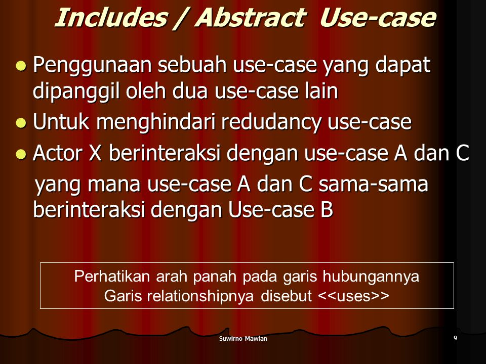 Suwirno Mawlan 9 Includes / Abstract Use-case Penggunaan sebuah use-case yang dapat dipanggil oleh dua use-case lain Penggunaan sebuah use-case yang dapat dipanggil oleh dua use-case lain Untuk menghindari redudancy use-case Untuk menghindari redudancy use-case Actor X berinteraksi dengan use-case A dan C Actor X berinteraksi dengan use-case A dan C yang mana use-case A dan C sama-sama berinteraksi dengan Use-case B yang mana use-case A dan C sama-sama berinteraksi dengan Use-case B Perhatikan arah panah pada garis hubungannya Garis relationshipnya disebut >