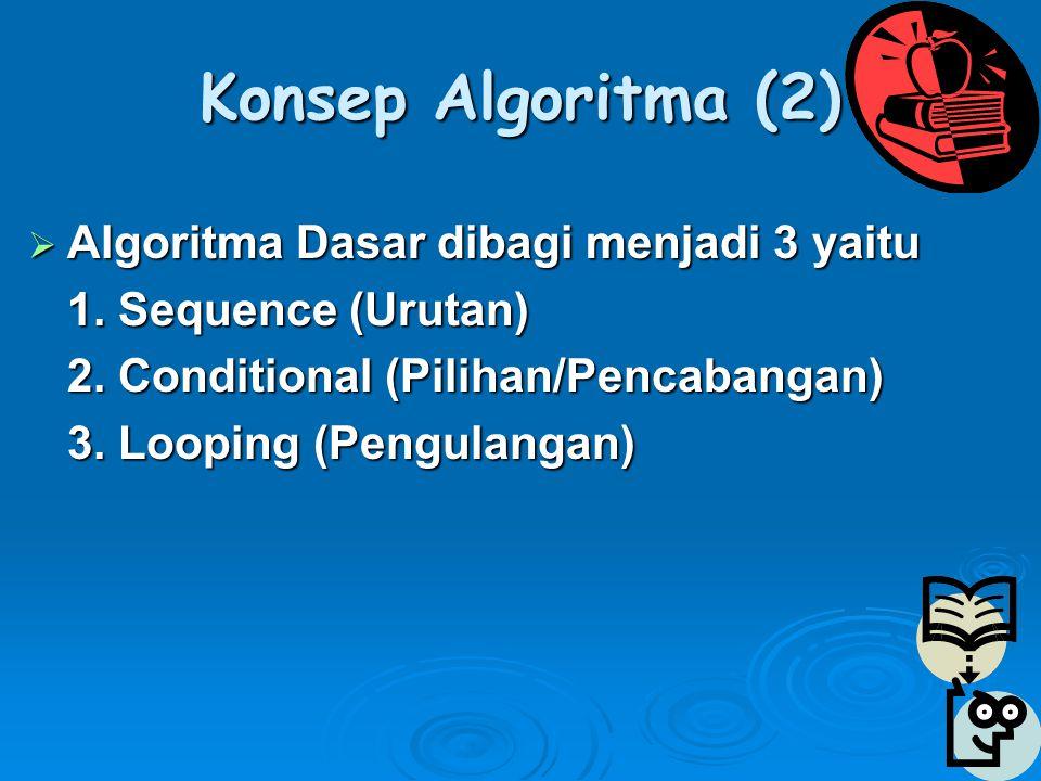Konsep Algoritma (2)  Algoritma Dasar dibagi menjadi 3 yaitu 1.