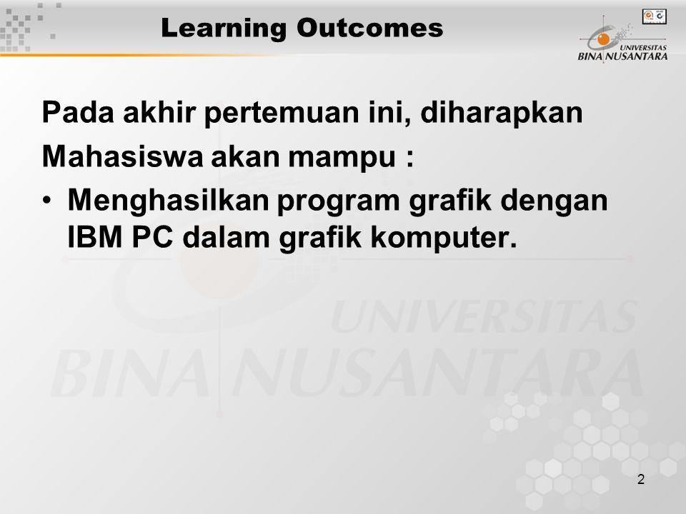 2 Learning Outcomes Pada akhir pertemuan ini, diharapkan Mahasiswa akan mampu : Menghasilkan program grafik dengan IBM PC dalam grafik komputer.