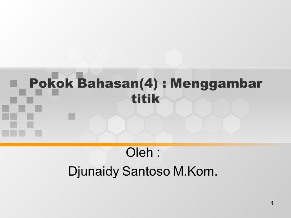 4 Pokok Bahasan(4) : Menggambar titik Oleh : Djunaidy Santoso M.Kom.