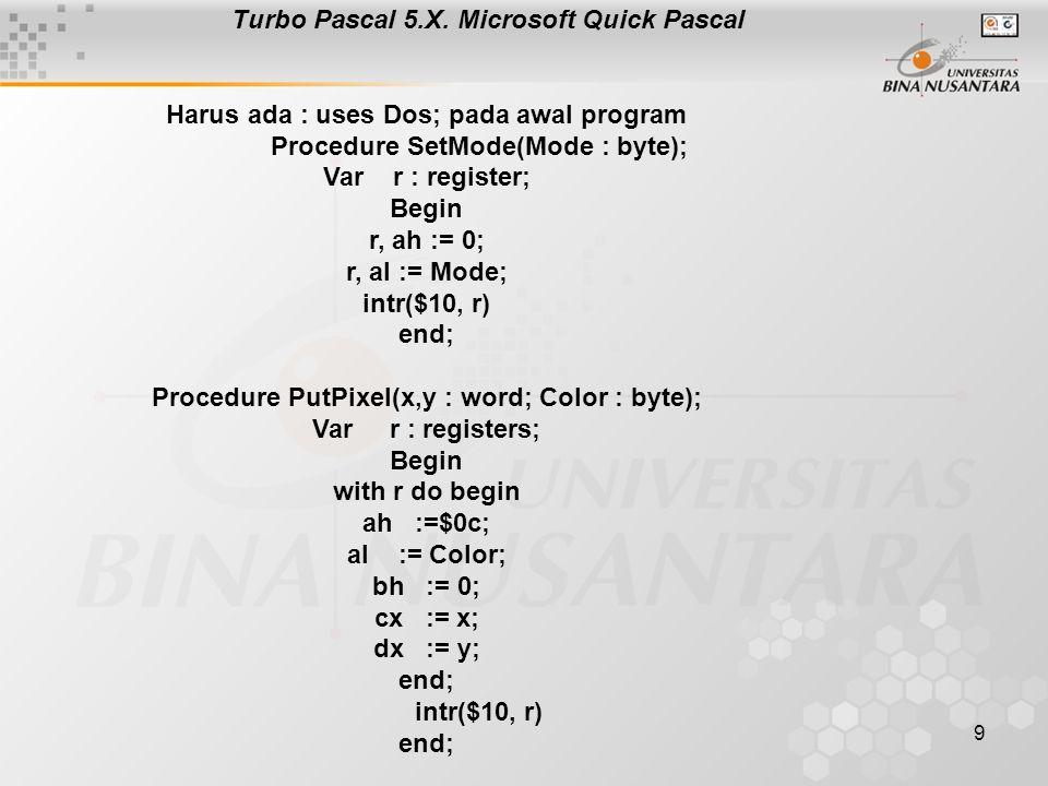 10 Turbo C Harus ada : #include pada awal program setmode(int mode) { union REGS r; r,h,sh := 0; r,h,al := mode; int86 ( 0x10, &r, &r); } putpixel(int x, y, color) { union REGS r; r,h,ah := $0c; r,h,al := Color; r,h,bh := 0; r,x,cx := x; r,x,dx := y; int86(0x10, &r, &r); } int getpixel (int x, y) { union REGS r; r,h,ah:= 0x0d; r,h,bh:= 0; r,x,cx:= x; r,x,dx:=y; int86 (0x10, &r, &r); return (ax & 0xff); }