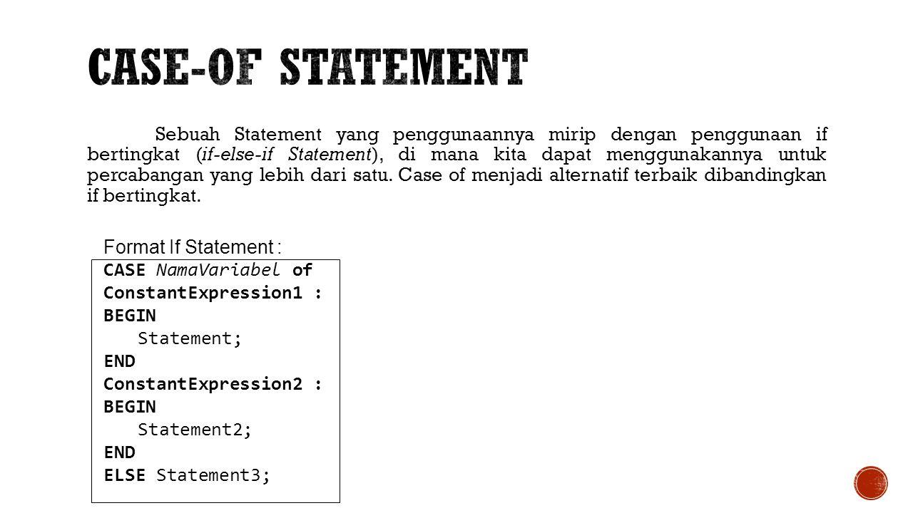Sebuah Statement yang penggunaannya mirip dengan penggunaan if bertingkat (if-else-if Statement), di mana kita dapat menggunakannya untuk percabangan
