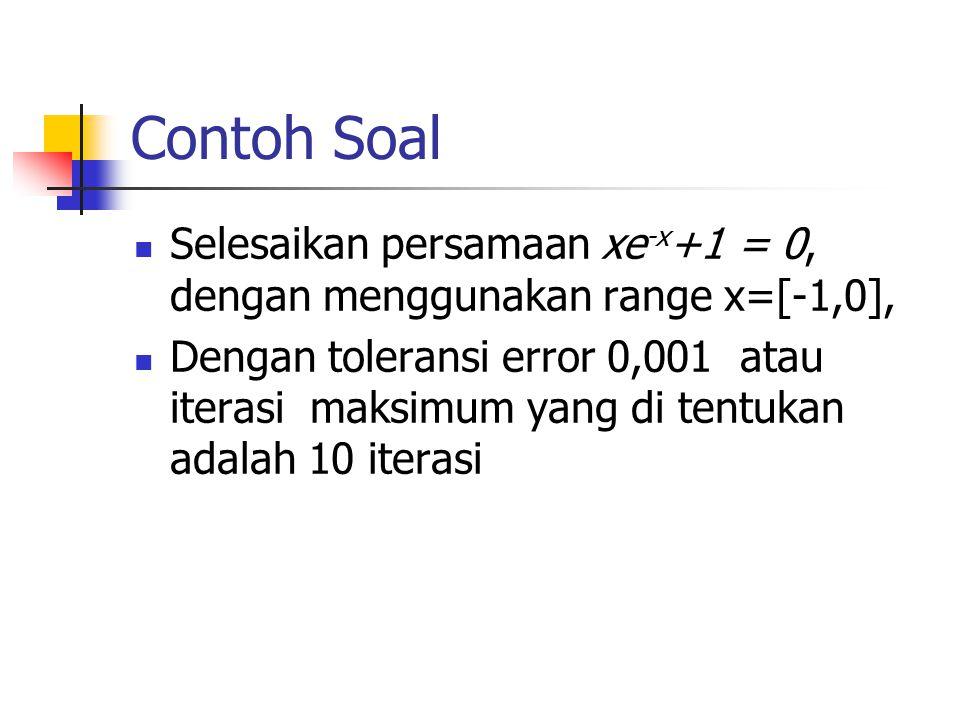 Contoh Soal Selesaikan persamaan xe -x +1 = 0, dengan menggunakan range x=[-1,0], Dengan toleransi error 0,001 atau iterasi maksimum yang di tentukan adalah 10 iterasi