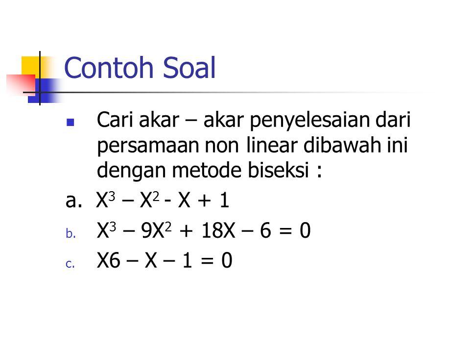 Contoh Soal Cari akar – akar penyelesaian dari persamaan non linear dibawah ini dengan metode biseksi : a. X 3 – X 2 - X + 1 b. X 3 – 9X 2 + 18X – 6 =