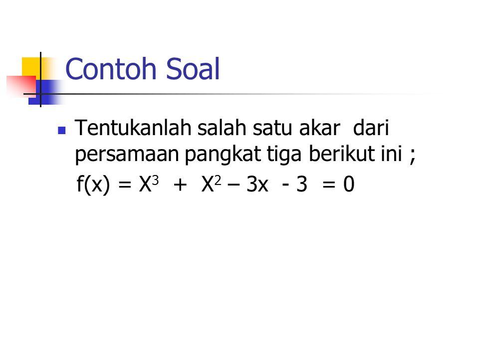 Contoh Soal Tentukanlah salah satu akar dari persamaan pangkat tiga berikut ini ; f(x) = X 3 + X 2 – 3x - 3 = 0