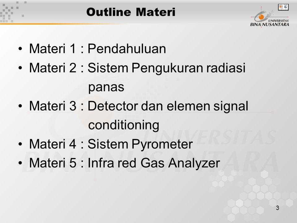3 Outline Materi Materi 1 : Pendahuluan Materi 2 : Sistem Pengukuran radiasi panas Materi 3 : Detector dan elemen signal conditioning Materi 4 : Sistem Pyrometer Materi 5 : Infra red Gas Analyzer