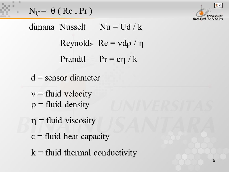 5 d = sensor diameter = fluid velocity  = fluid density  = fluid viscosity c = fluid heat capacity k = fluid thermal conductivity N U =  ( Re, Pr ) dimana Nusselt Nu = Ud / k Reynolds Re = d  /  Prandtl Pr = c  / k