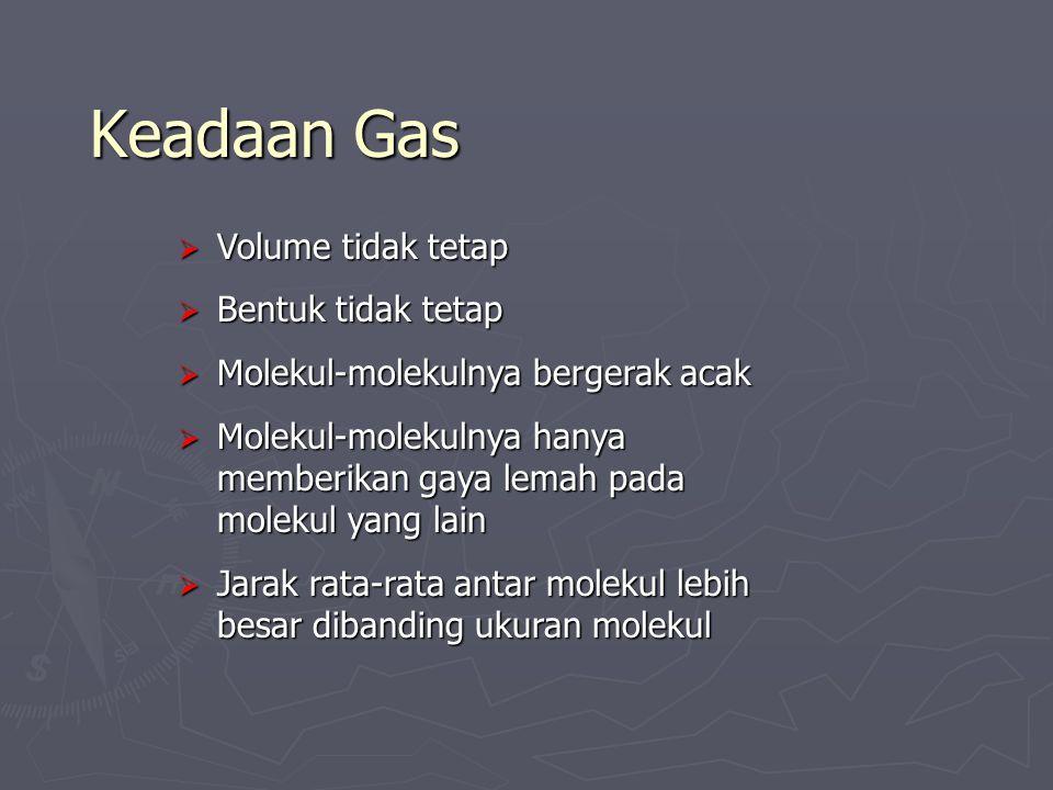 Keadaan Gas  Volume tidak tetap  Bentuk tidak tetap  Molekul-molekulnya bergerak acak  Molekul-molekulnya hanya memberikan gaya lemah pada molekul yang lain  Jarak rata-rata antar molekul lebih besar dibanding ukuran molekul