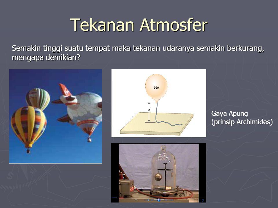 Tekanan Atmosfer Semakin tinggi suatu tempat maka tekanan udaranya semakin berkurang, mengapa demikian.