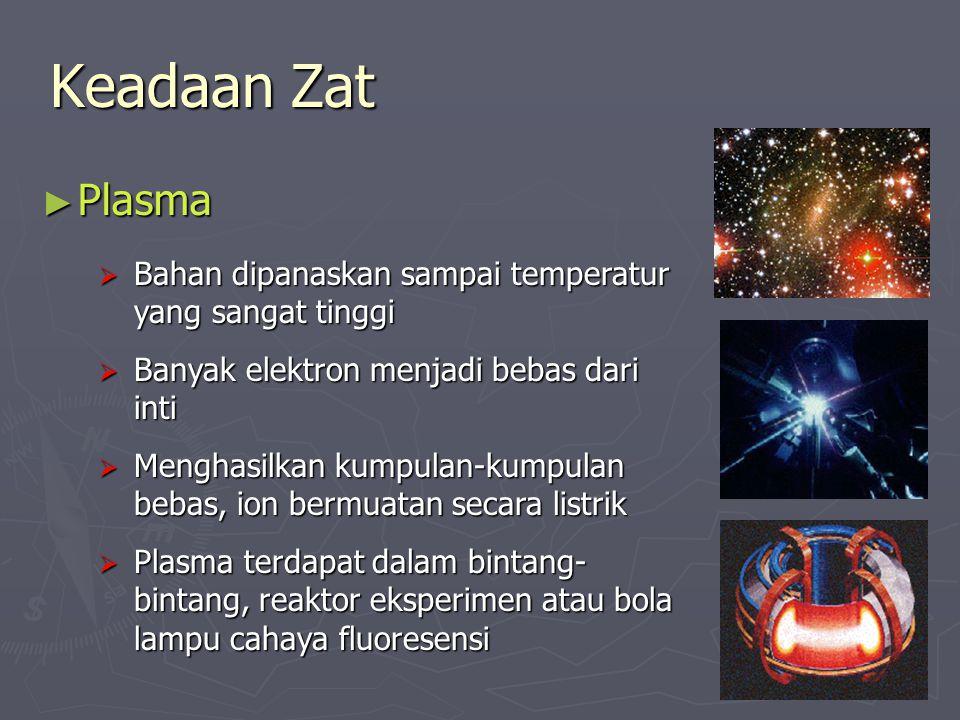 Keadaan Zat ► Plasma  Bahan dipanaskan sampai temperatur yang sangat tinggi  Banyak elektron menjadi bebas dari inti  Menghasilkan kumpulan-kumpulan bebas, ion bermuatan secara listrik  Plasma terdapat dalam bintang- bintang, reaktor eksperimen atau bola lampu cahaya fluoresensi