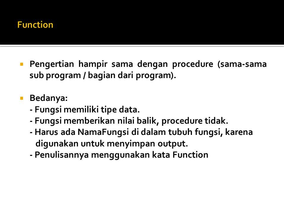  Pengertian hampir sama dengan procedure (sama-sama sub program / bagian dari program).  Bedanya: - Fungsi memiliki tipe data. - Fungsi memberikan n