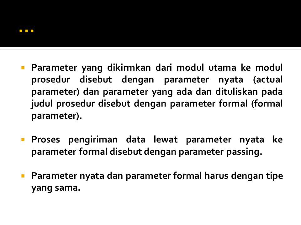  Parameter yang dikirmkan dari modul utama ke modul prosedur disebut dengan parameter nyata (actual parameter) dan parameter yang ada dan dituliskan