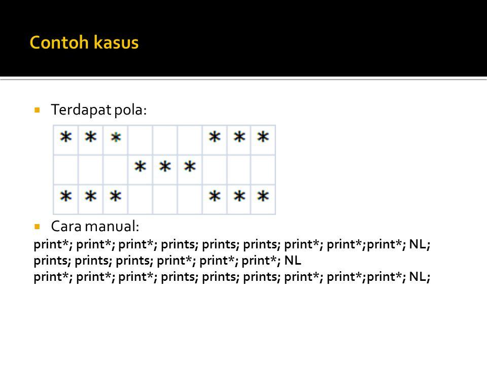  Terdapat pola:  Cara manual: print*; print*; print*; prints; prints; prints; print*; print*;print*; NL; prints; prints; prints; print*; print*; pri