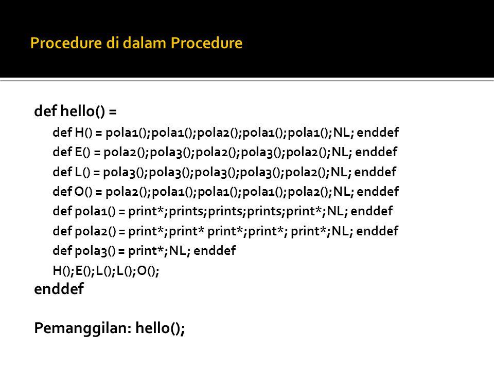  def pola3() = print*;NL; enddef  Procedure di atas bila dipanggil hasilnya selalu sama, karena tidak ada parameter.