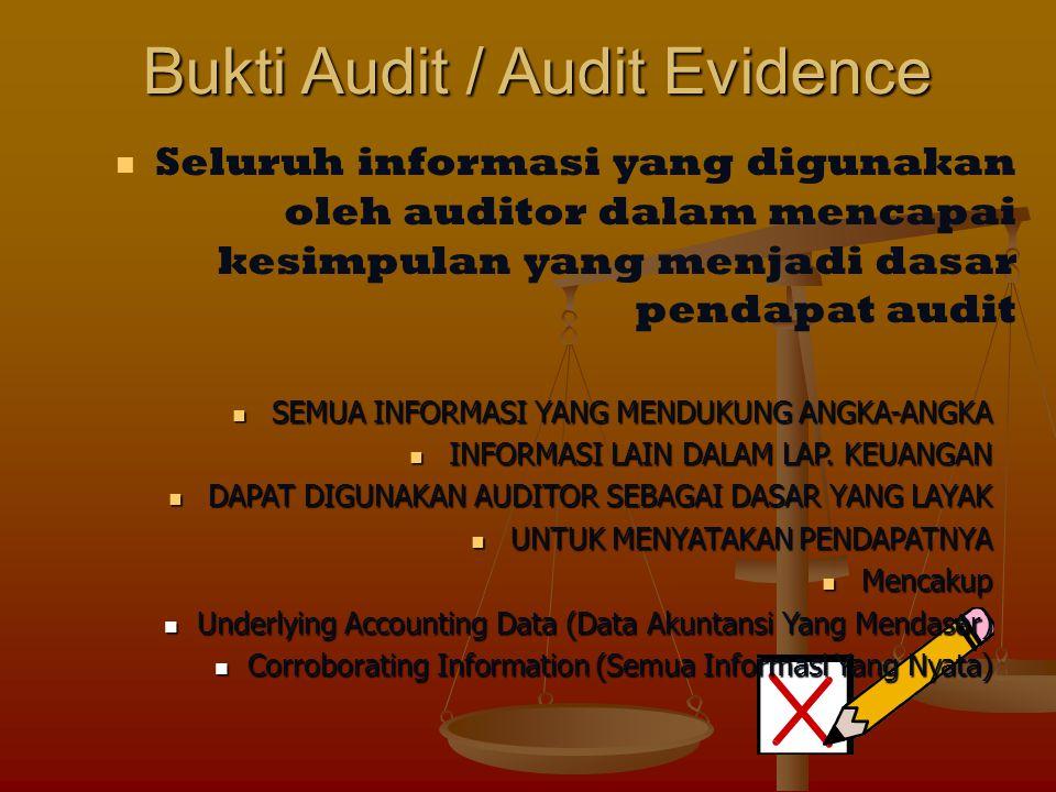 Bukti Audit / Audit Evidence Seluruh informasi yang digunakan oleh auditor dalam mencapai kesimpulan yang menjadi dasar pendapat audit SEMUA INFORMASI YANG MENDUKUNG ANGKA-ANGKA SEMUA INFORMASI YANG MENDUKUNG ANGKA-ANGKA INFORMASI LAIN DALAM LAP.