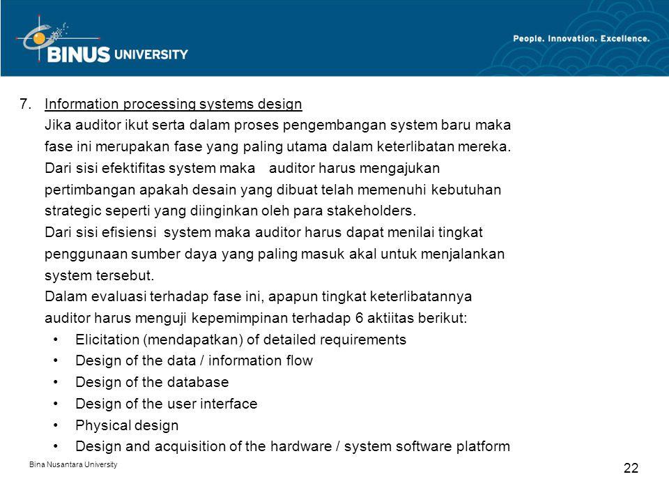 Bina Nusantara University 21 6.Organizational and job design Pada beberapa kasus, penemuan kebutuhan strategic akan mengakibatkan terjadinya pengambilan keputusan terhadap struktur organisasi dan job deskripsi yaitu apakah akan menggunakan yang ada atau harus dilakukan desain yang baru, 5.