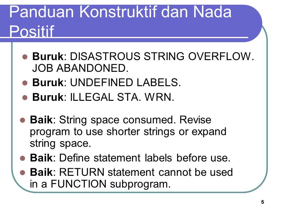 5 Panduan Konstruktif dan Nada Positif Buruk: DISASTROUS STRING OVERFLOW. JOB ABANDONED. Buruk: UNDEFINED LABELS. Buruk: ILLEGAL STA. WRN. Baik: Strin