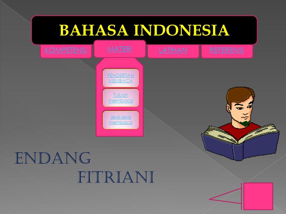 KOMPETENSILATIHANREFERENSI BAHASA INDONESIA MATERI PENGERTIAN MEMBACA PENGERTIAN MEMBACA Tujuan membaca Tujuan membaca Jenis-jenis membaca Jenis-jenis