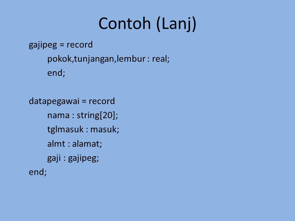Contoh (Lanj) gajipeg = record pokok,tunjangan,lembur : real; end; datapegawai = record nama : string[20]; tglmasuk : masuk; almt : alamat; gaji : gaj