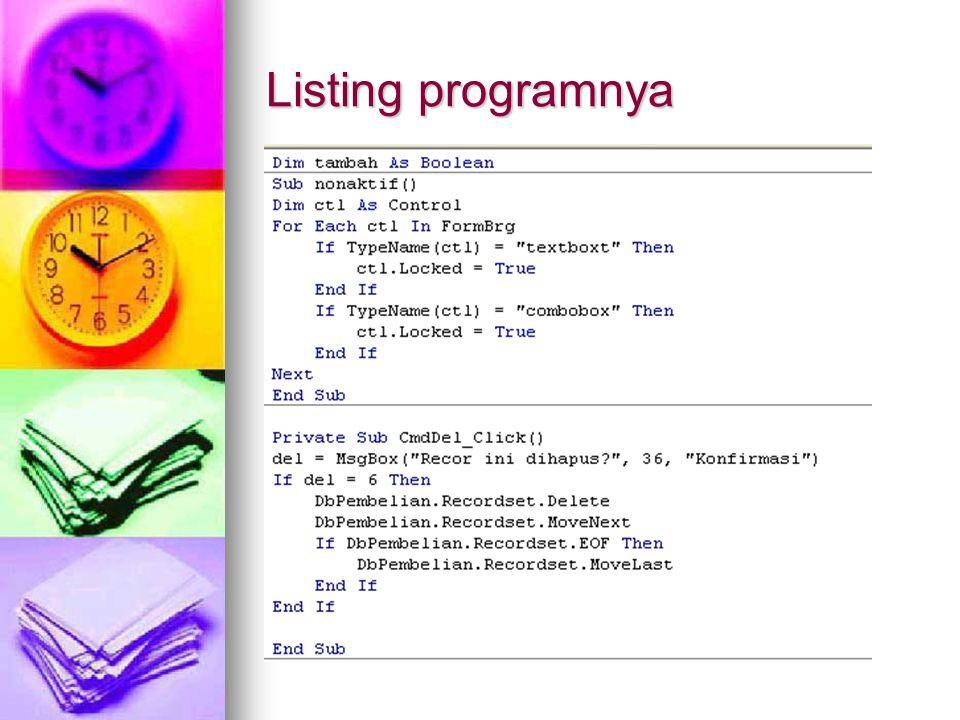 Listing programnya