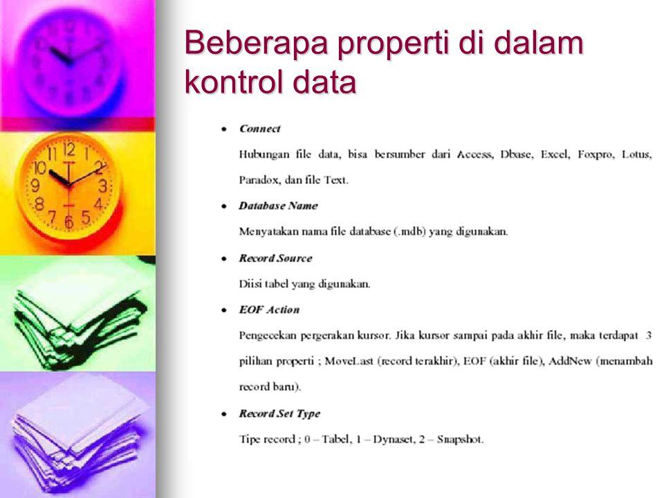 Beberapa properti di dalam kontrol data