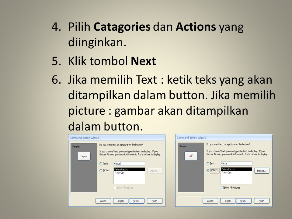 4.Pilih Catagories dan Actions yang diinginkan.