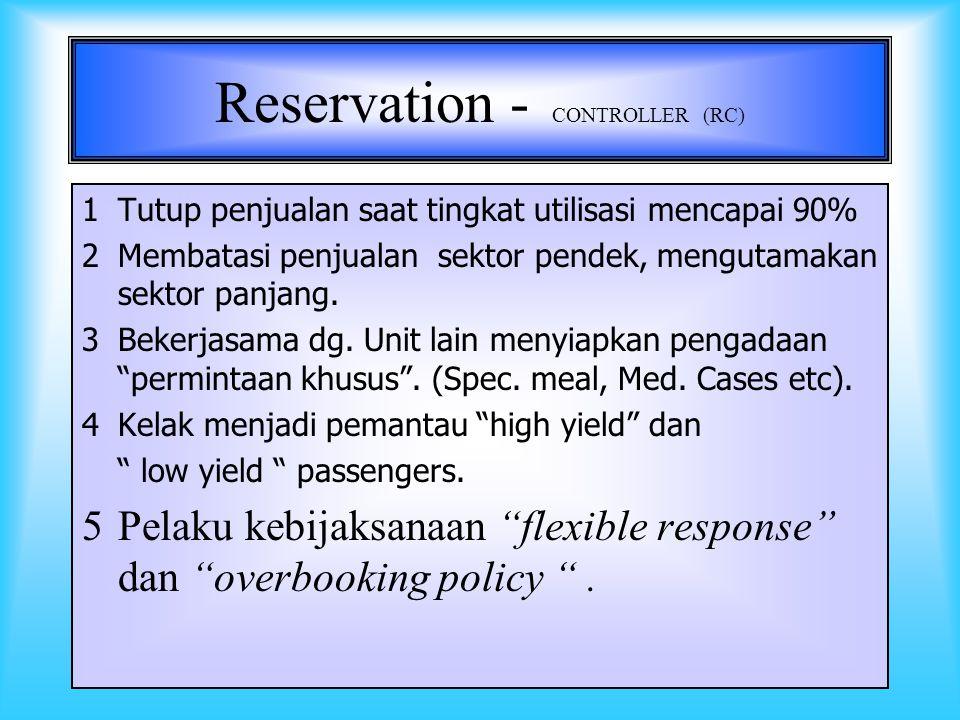 12 RESERVATION - CONTROLLER (RC) Sebagai pengendali penjualan diberi wewenang dan tanggung jawab untuk bertindak sebagai pelaku kebijaksanaan pimpinan perusahaan.