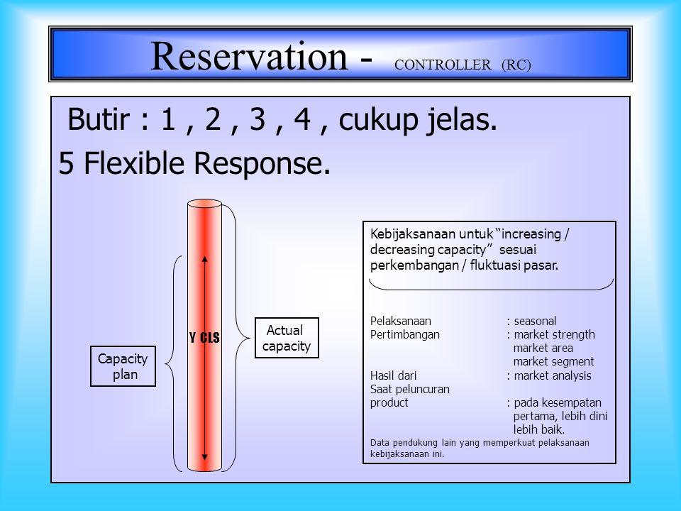 13 Reservation - CONTROLLER (RC) 1Tutup penjualan saat tingkat utilisasi mencapai 90% 2Membatasi penjualan sektor pendek, mengutamakan sektor panjang.