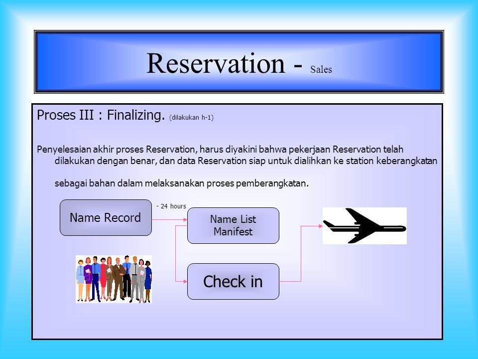 8 Reservation - Sales Proses II : FIRM (-ing ): Suatu kebijaksanaan yang diterapkan oleh hampir semua perusahaan jasa, khususnya jasa angkutan udara.