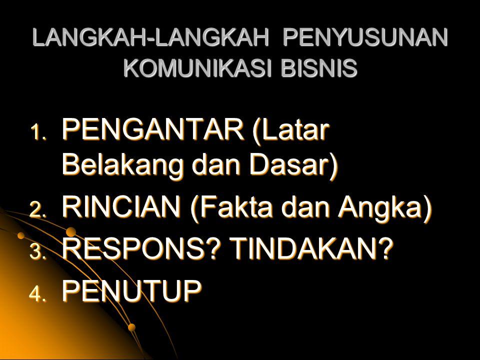 LANGKAH-LANGKAH PENYUSUNAN KOMUNIKASI BISNIS 1.PENGANTAR (Latar Belakang dan Dasar) 2.