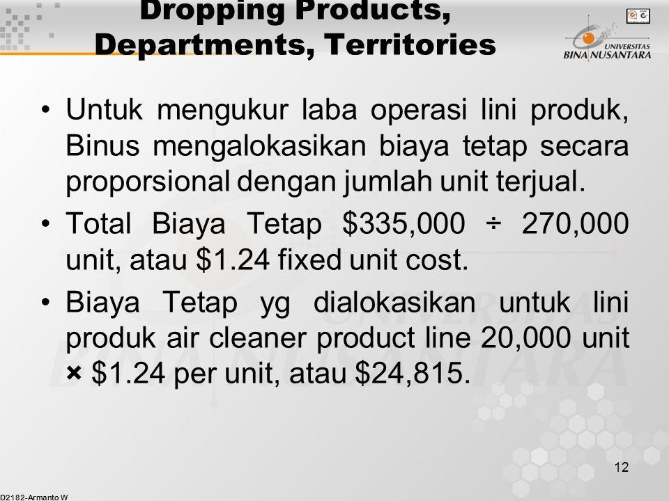 D2182-Armanto W 12 Dropping Products, Departments, Territories Untuk mengukur laba operasi lini produk, Binus mengalokasikan biaya tetap secara proporsional dengan jumlah unit terjual.